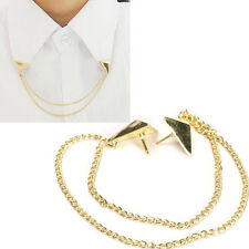 Hot Spike Stud Blouse Shirts Collar Neck Tip Brooch Pin Chain Punk Gold Jewelry
