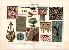 Stampa antica ARTE ARABA decorazioni scimitarra capitello lampada 1910 Old print