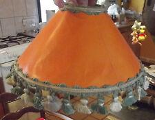 Ancien Abat-Jour Orange & Franges Pompons Fil Vintage 25,5cm x 11,5cm