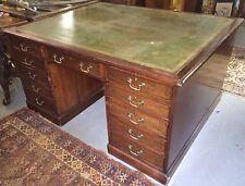 Antique Fiddleback Mahogany & Mahogany 22 Drawer Partners Desk Leather Topped