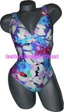 NWT GOTTEX designer 12 swimsuit floral v-neck slimming high-end tank fully-lined