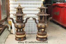 28 China Temple 8 treasures Censer Bronze Gilt Dragon Palace Incense Burner Pair