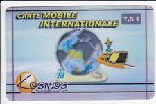 FRANCE  TELECARTE / PHONECARD  PREPAYEE .. 7€50 KOSMOS MOBILE GLOBE 01/08 +N°