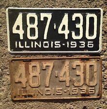Pair Illinois 1939 License Plates Dodge Chevy Ford Mopar YOM Cadillac 39 ROD