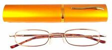 Reading Glasses[+3.00] 1 Metal Frame Gold Reader Matching Case Spring Hinge 3.00