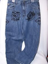 Southpole Men's Jeans Size 34 x 29 Embroidered Vintage Denim Black King of Kings