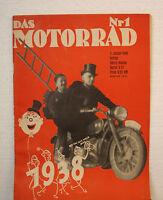 """Das Motorrad  """" Ausgabe 1938 Heft 1 """""""