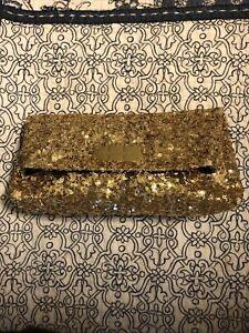 VICTORIAS SECRET GOLD BEADED SEQUIN EVENING POUCH BAGUETTE BAG EXCELLENT COND
