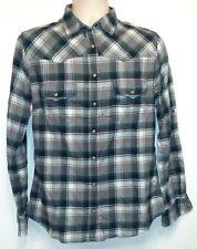 NWT Jachs Girlfriend Bea Gray & Teal Plaid Western Style Pearl Snap Shirt - Sz M