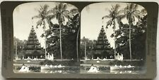 Inde India Pagode bouddhiste Jardin d'Eden Calcutta Photo Stereo Vintage