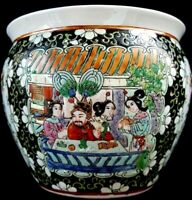 "Vintage Chinese Antique ""Qianlong Dynasty"" Famille Rose Porcelain Fish Bowl"