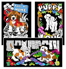 Puppies For Sale 3-Pack - Large 16x20 Inch Fuzzy Velvet Coloring Poster