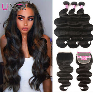 UNice Peruvian Body Wave Human Hair Weft 3 Bundles With Transparent Lace Closure