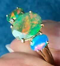 10K Yellow Gold & Opal Ring. Natural Ethiopian Welo Opal. Greens & Blues--K8L9