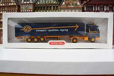 Scania 143 Pritschen-Sattelzug von ASG in OVP (Wiking/Ap/U 9
