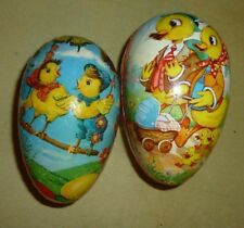 2 Vintage Paper Mache Easter Eggs Decoration Western Germany Candy Containers