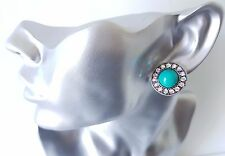 Beautiful silver tone - turquoise & AB diamante CLIP ON stud earrings, 22mm NEW