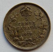 1919 Canada 5 Cents Silver Coin   SB5629