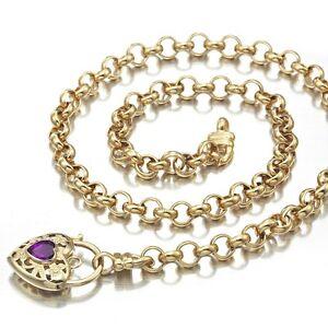 18K Yellow Gold GL Women's Solid Med Belcher Necklace & Amethyst Heart 55cm