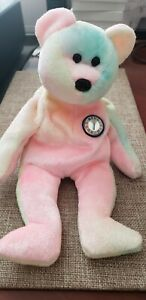 TY Beanie Baby BB Birthday Bear Teddy Pastel Tie Dyed 1999