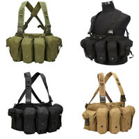 Military Combat Chest Rig Tactical Molle Vest Harness w/ Magazine Carrier Pouch
