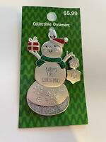 NWT Christmas Ornament BABY'S FIRST CHRISTMAS Snowman Green Silver Glitter