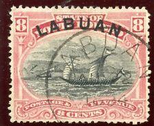 Labuan 1894 QV 8 C rosa-rojo muy bien usada. SG 68.