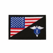 "(D0) AMERICAN FLAG EMT STAR OF LIFE 3"" x 2"" Hook & Loop patch (0476) Medical"