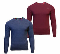 Superdry Mens New Orange Label Crew Neck Cotton Jumper Long Sleeve Blue Burgundy