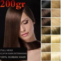 10PCS 200g 16''~28'' Double Weft Thick Virgin Clip In Real Human Hair Extensions
