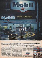 PUBLICITE MOBIL STATION SERVICE POMPE A ESSENCE BLEU ROUGE DE 1960 FRENCH AD PUB