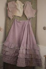 Silk Antique French skirt bodice / corset set dress 1850's purple