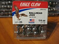 25 Eagle Claw Plain Ballhead Fishing Jigs 1/4 oz Unpainted Ball Heads & Hooks