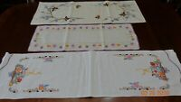 Mixed lot 3 Vintage Cotton Dresser scarfs Hand Embroidered Floral Butterfly NICE