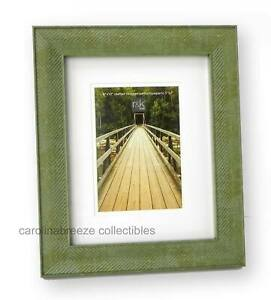 Photo Frame Green Herringbone Design With Sleek Slim Borders 8x10 Matted to 5x7