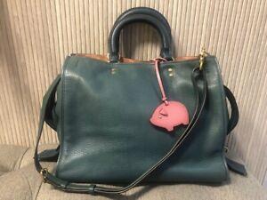 Authentic COACH Rogue Graboutin Pebble 2WAY 20315 Handbag Blue Leather