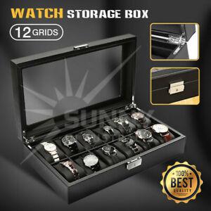 12 Grids Carbon Fiber Watch Box PU Storage Case Display Organizer Holder Gift