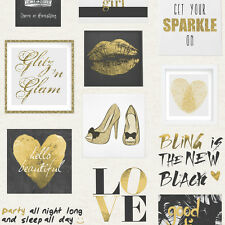 Glitz and Glam Black and Gold Wallpaper by Muriva Girls Collage 102556