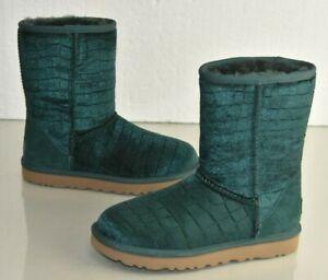 NEW UGG Uggs CLASSIC SHORT II CROC Emerald Boots Velvet Green 6 EU 37