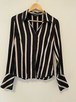 Charlie Brown Size 10 Silk Stripe Button Up Blouse Black and White Shirt
