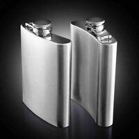 7 8 10oz Stainless Steel Hip Liquor Whiskey Alcohol Flask Cap Pocket Wine Bottle