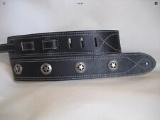 BLACK LEATHER WITH TEXAS RANGER CONCHO GUITAR STRAP