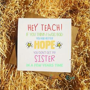 Thank You Teacher End Of School Funny Greetings Card - Brother Sister