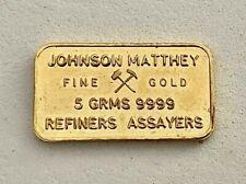 JOHNSON MATTHEY 5 GRAM .9999 FINE GOLD, VINTAGE BAR, REFINERS TO BANK OF ENGLAND