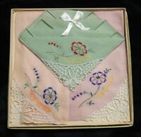 Vintage Set of 3 HANKIES Handkerchiefs HANKYS New in Box HAND EMBROIDERY & Lace