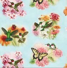 Animal Fabric - Hummingbirds Floral Portraits on Blue - Elizabeth's Studio YARD