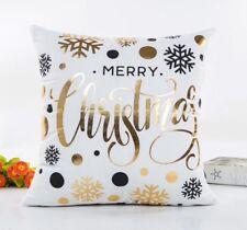 "Christmas White & Gold 17"" Square Cushion Cover Pillow Case Xmas Decor Gift"