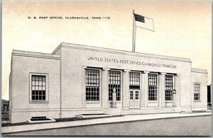 "Clarksville, Tennessee Postcard ""U.S. POST OFFICE"" Street View KROPP Linen 1940s"