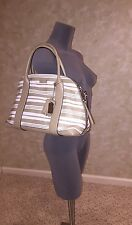NWT Coach Bleecker Preston Satchel In Embossed Woven Leather 31004 SV/Fawn/White