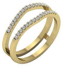 14K Yellow Gold I1 G 0.30 Ct Round Cut Diamond Double Anniversary Ring 7.30 MM